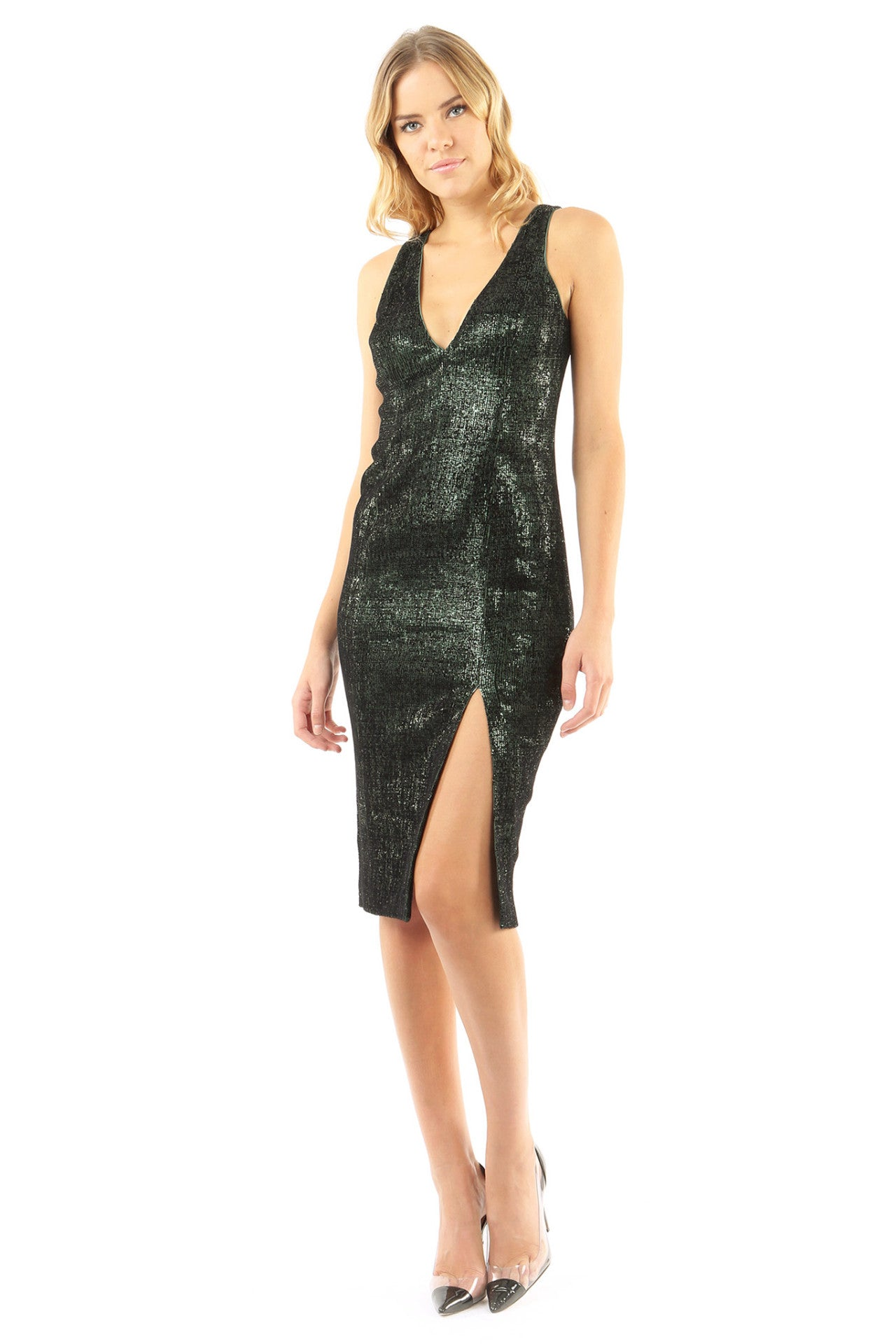 Jay Godfrey Black Sequin Deep-V Dress - Front View