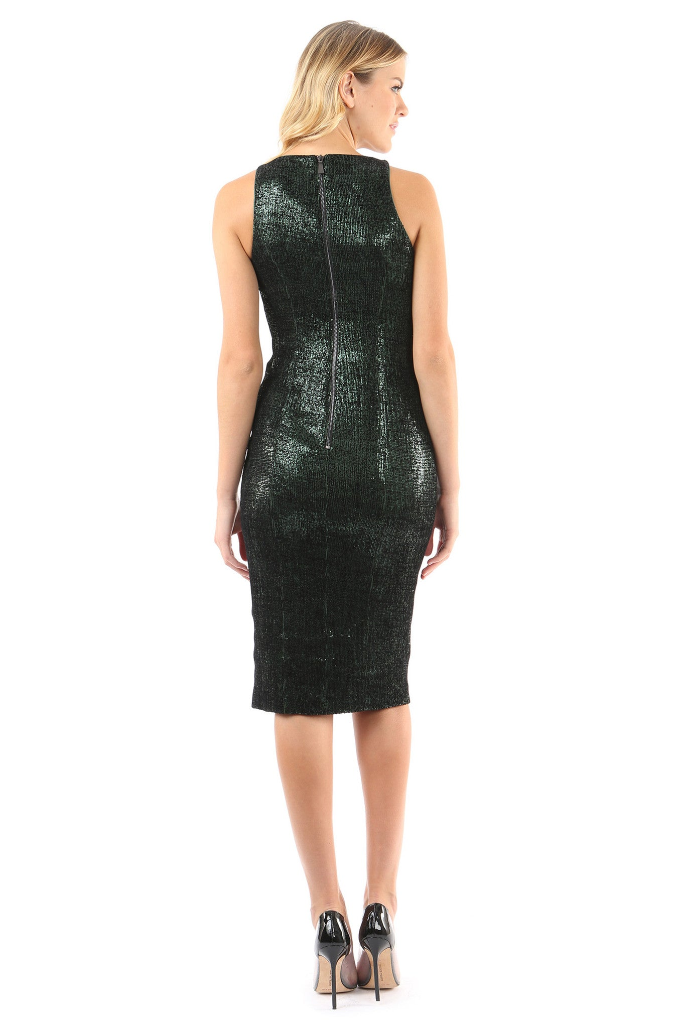 Jay Godfrey Black Sequin Deep-V Dress - Back View
