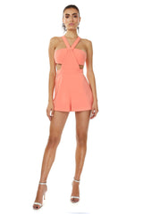 Jay Godfrey Orange Bandeau Romper - Front View