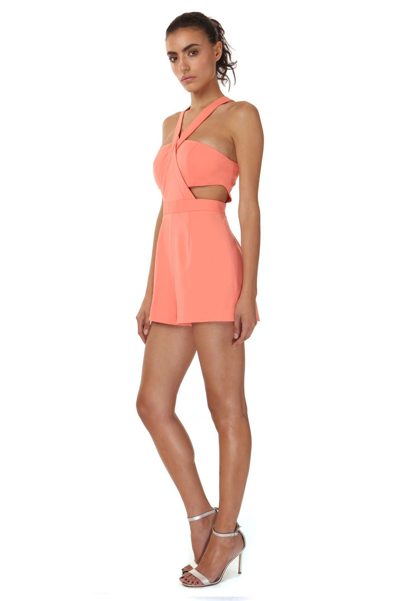 Jay Godfrey Orange Bandeau Romper - Side View