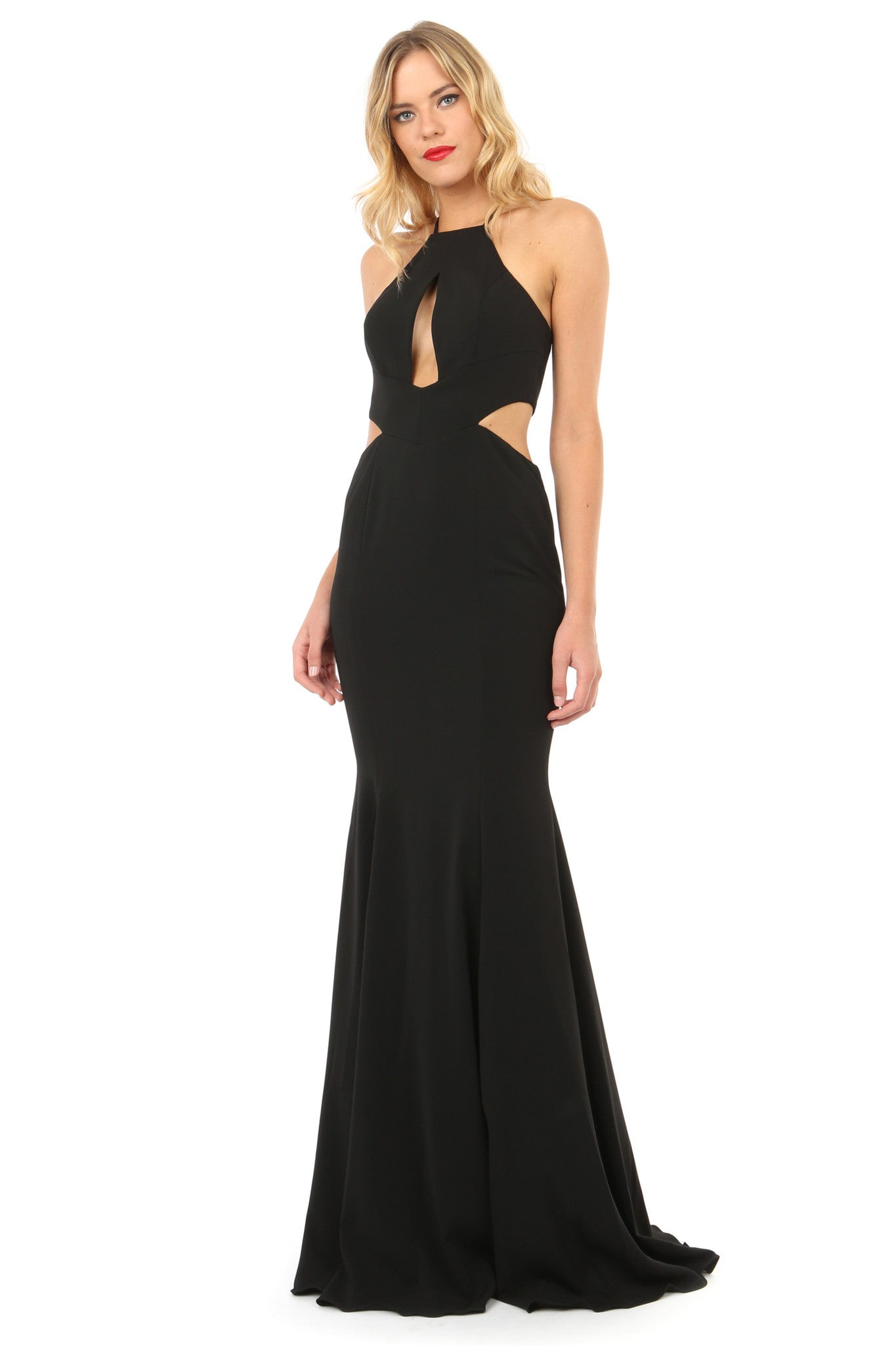 Jay Godfrey Black Cut-Out High Neck Gown - Front View