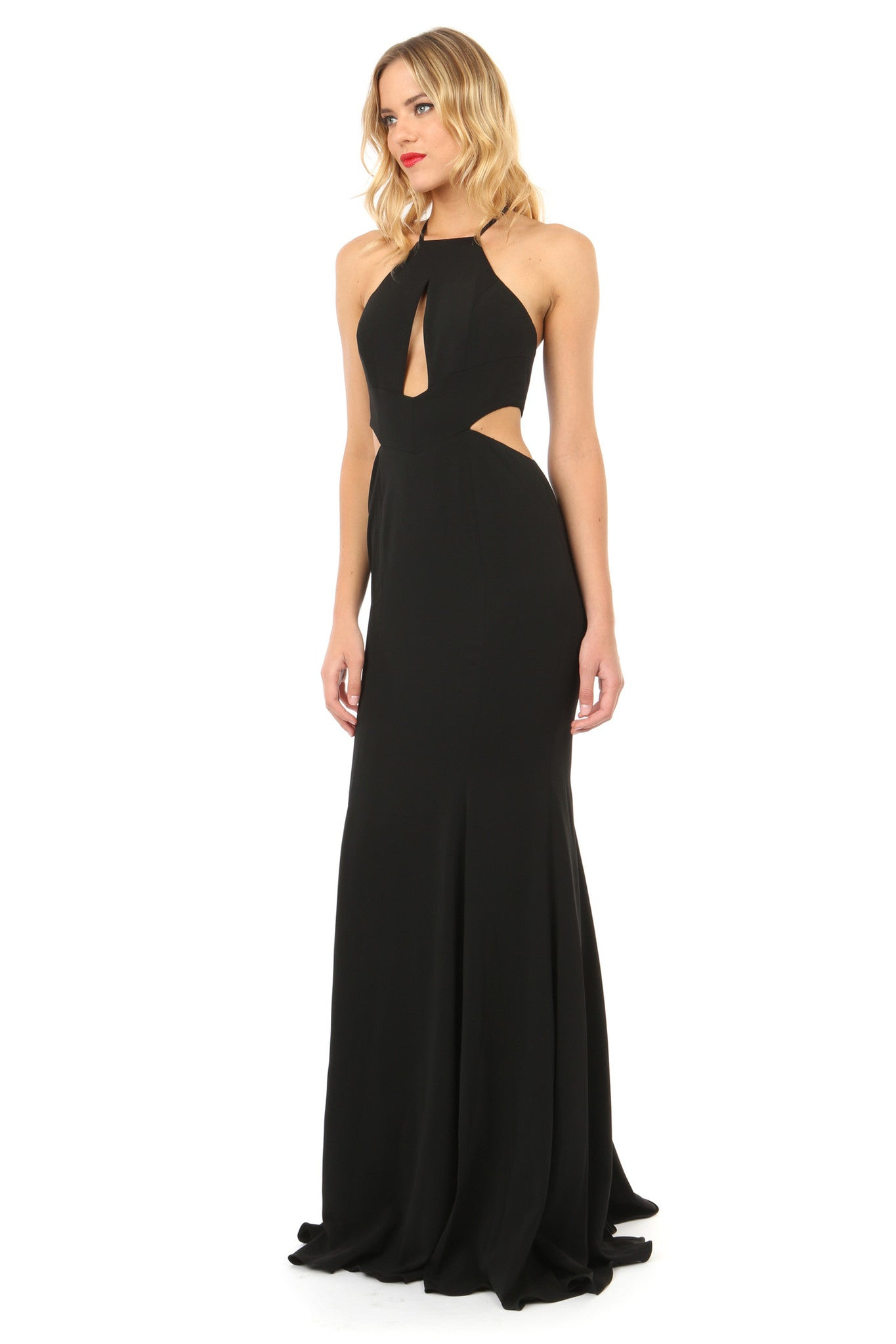 Jay Godfrey Black Cut-Out High Neck Gown - Side View