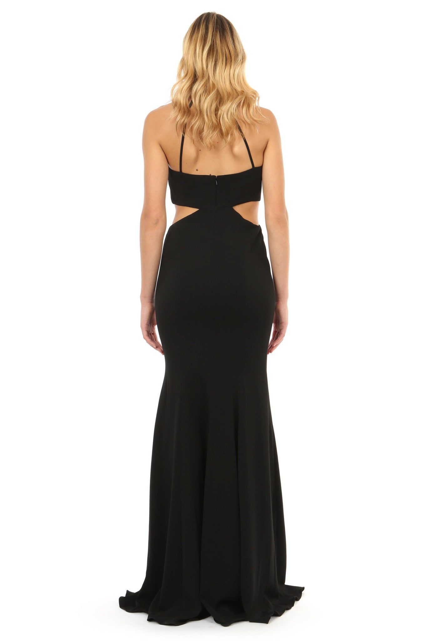 Jay Godfrey Black Cut-Out High Neck Gown - Back View