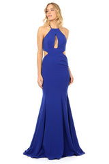 Jay Godfrey Cobalt Cut-Out High Neck Gown - Side View