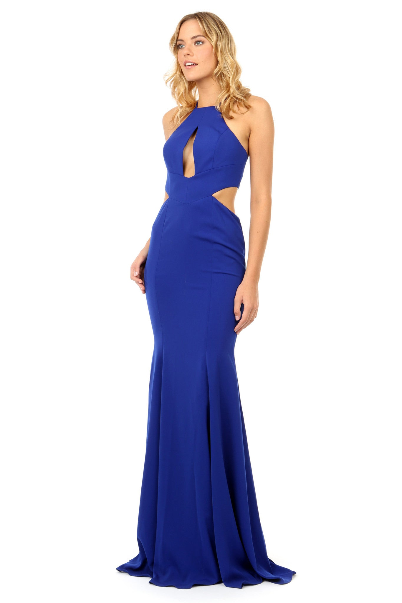 Jay Godfrey Cobalt Cut-Out High Neck Gown - Front View