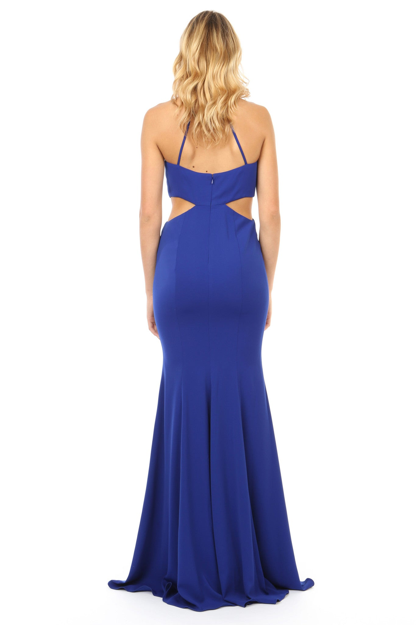 Jay Godfrey Cobalt Cut-Out High Neck Gown - Back View
