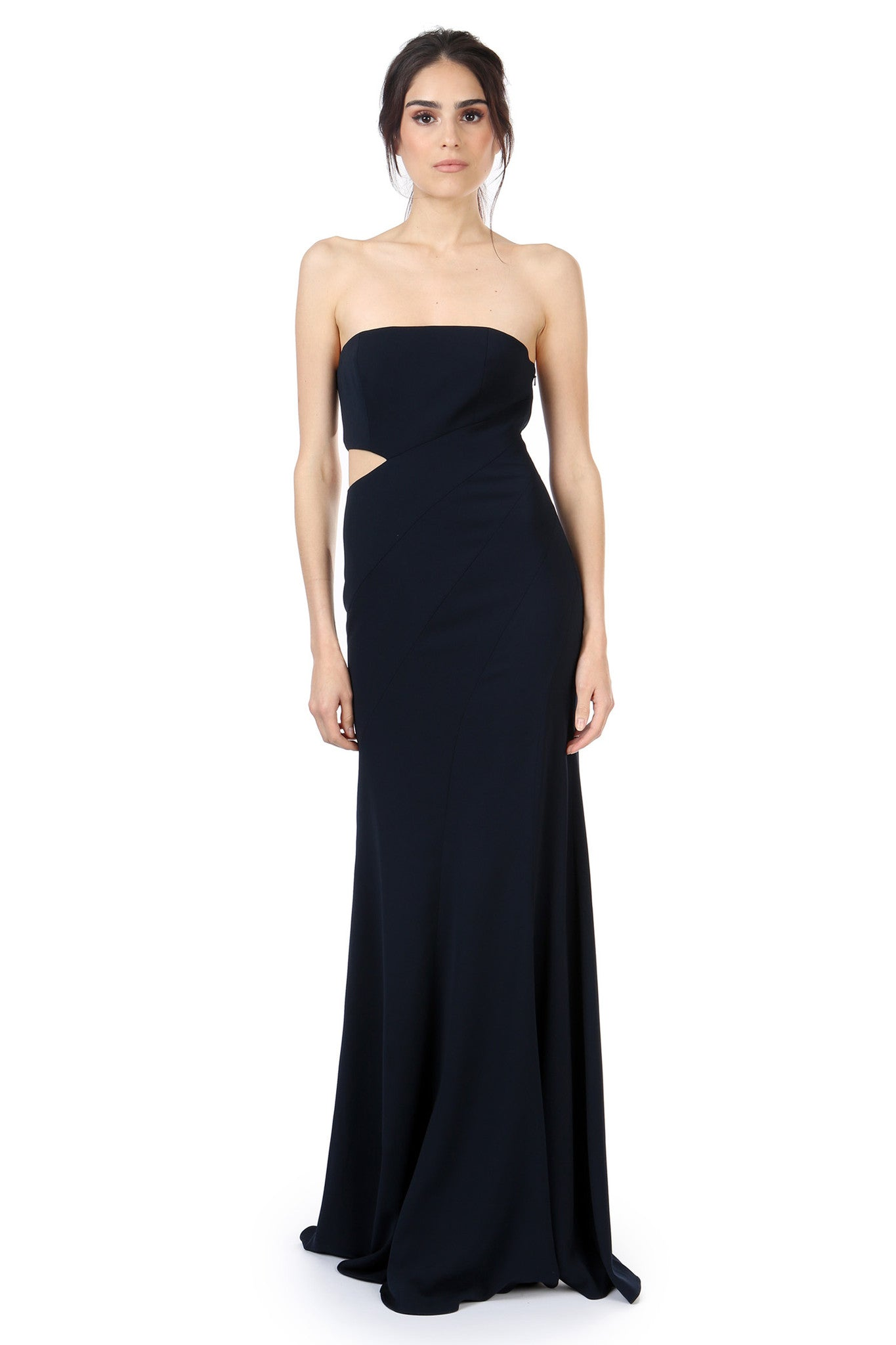 Jay Godfrey Navy Strapless Cut-Out Gown - Front View