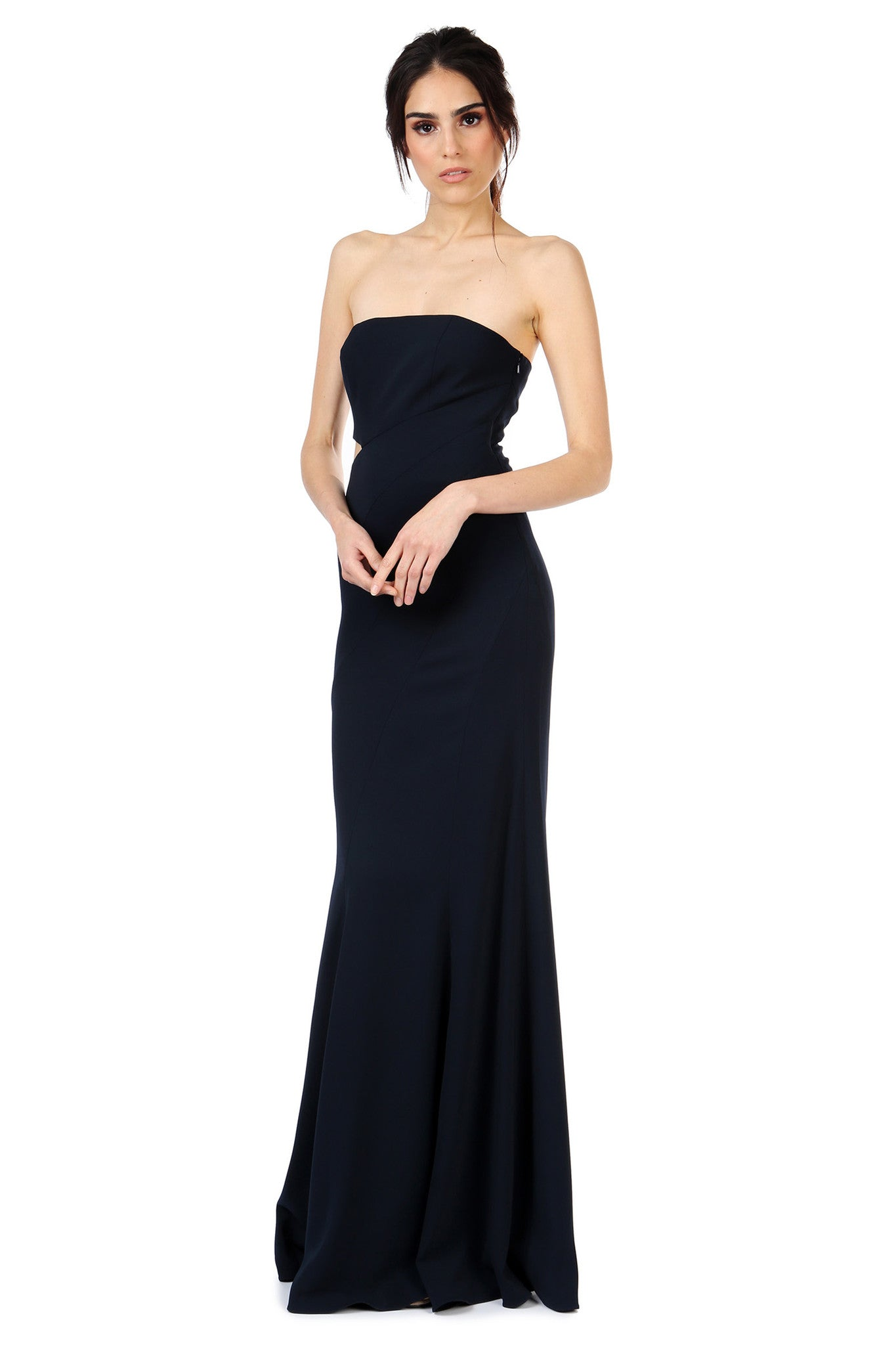 Jay Godfrey Navy Strapless Cut-Out Gown - Side View