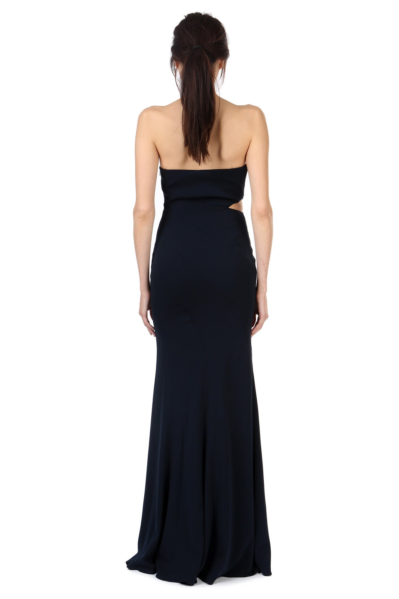 Jay Godfrey Navy Strapless Cut-Out Gown - Back View