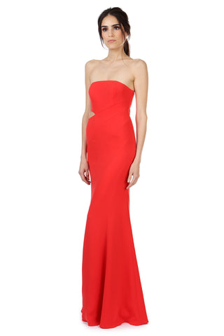 DOYLE CORAL RED STRAPLESS GOWN - FINAL SALE