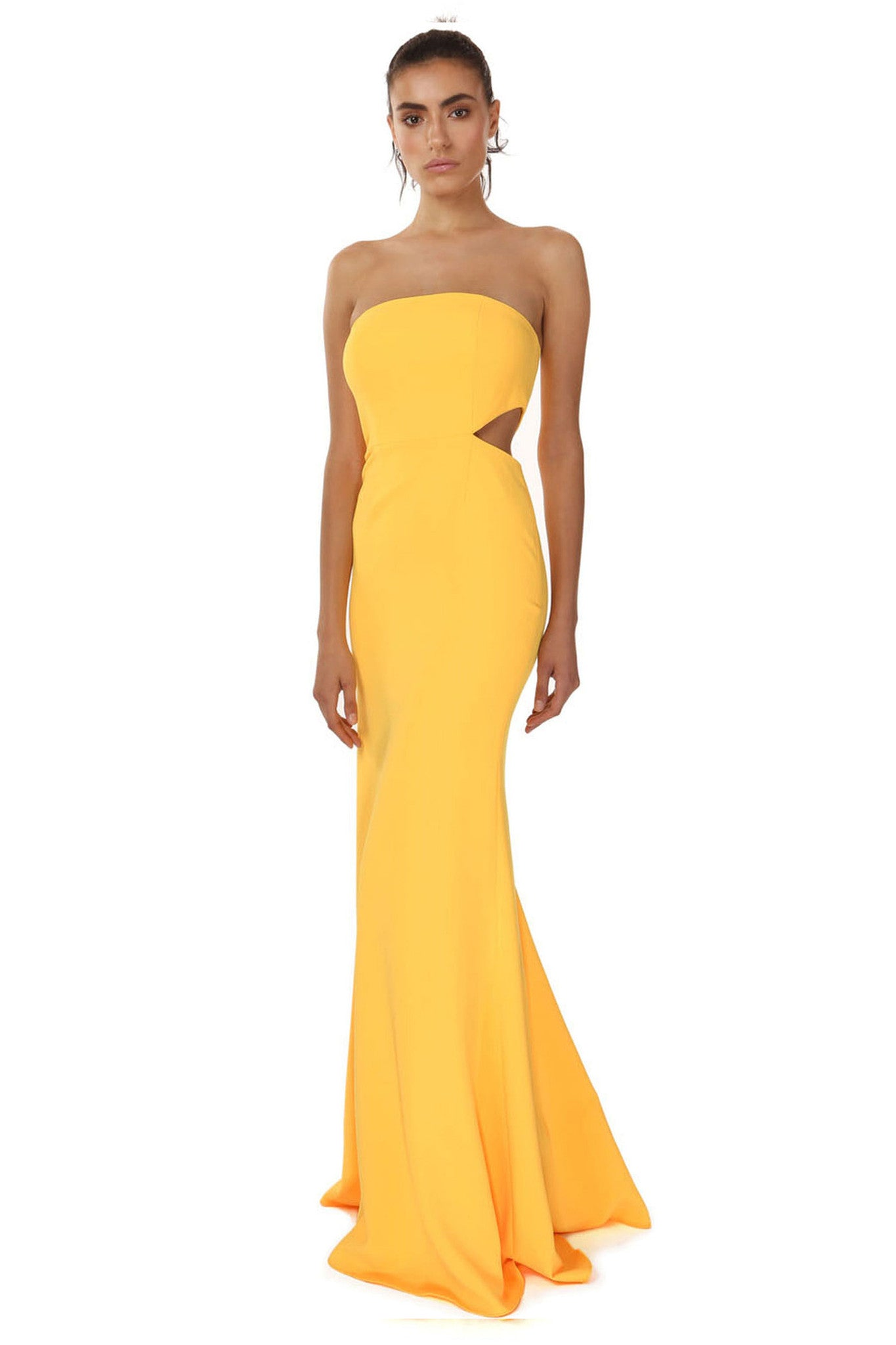 Jay Godfrey Sunflower Strapless Cut-Out Gown - Front View