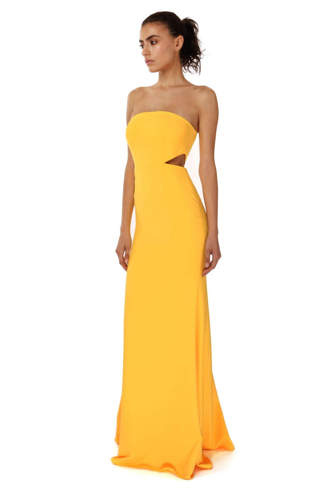 Jay Godfrey Sunflower Strapless Cut-Out Gown - Side View