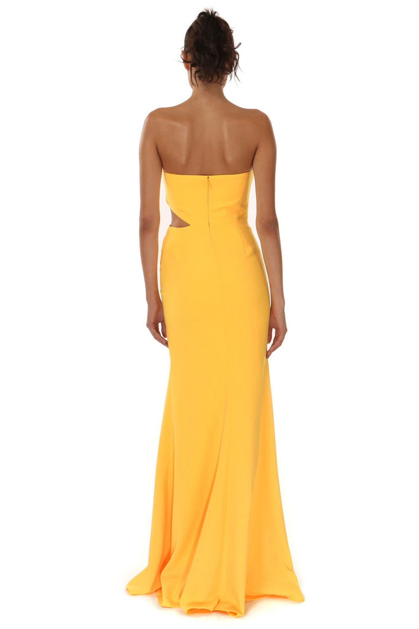 Jay Godfrey Sunflower Strapless Cut-Out Gown - Back View