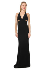 Jay Godfrey Black Cut-Out Deep-V Gown - Front View