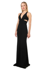 Jay Godfrey Black Cut-Out Deep-V Gown - Side View