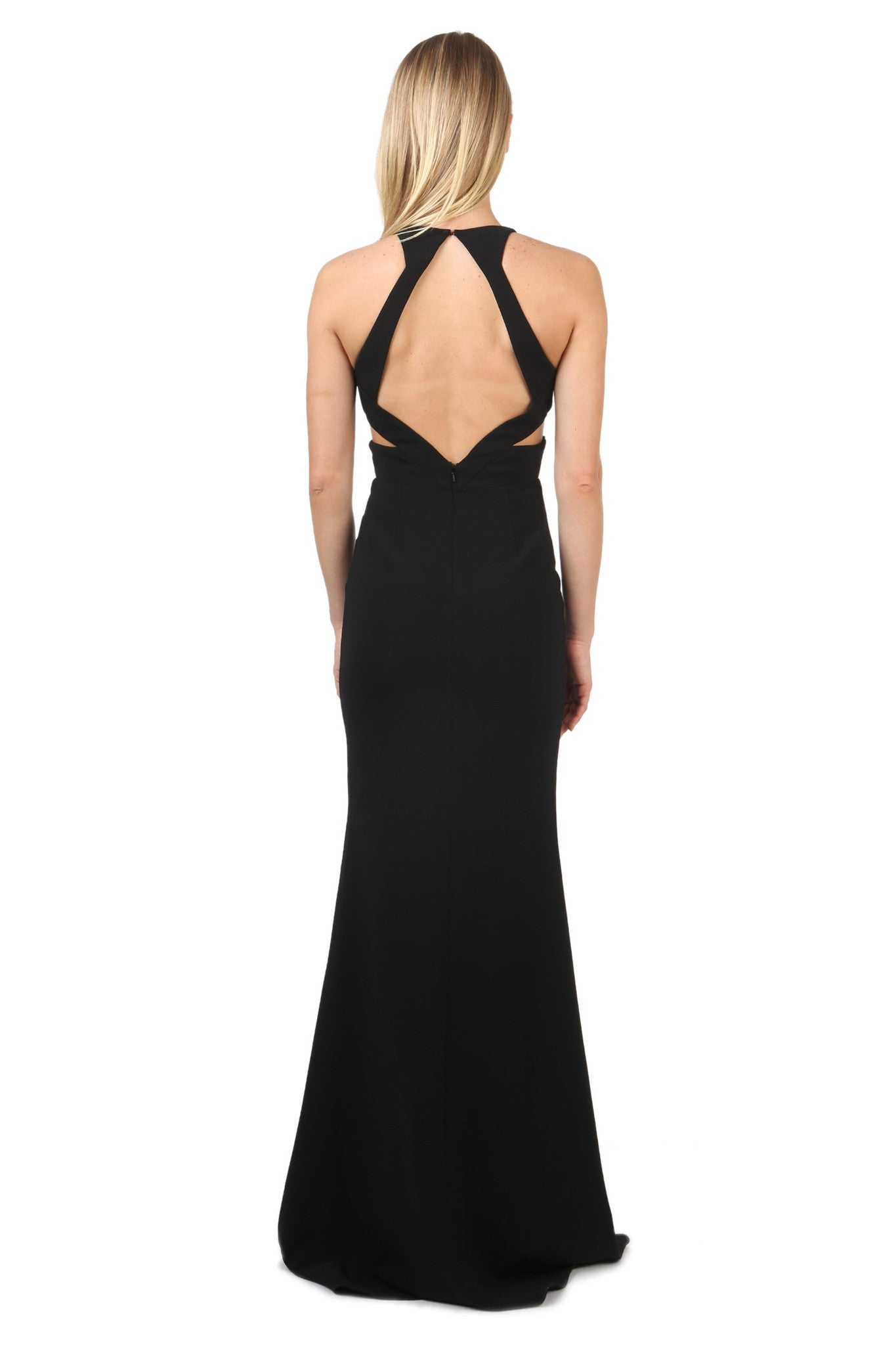 Jay Godfrey Black Cut-Out Deep-V Gown - Back View