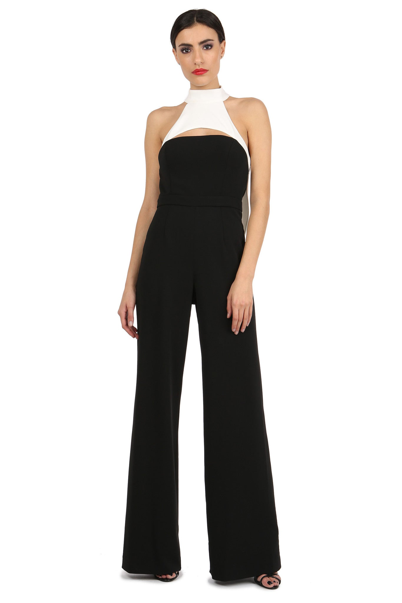 Jay Godfrey Black and White High-Neck Jumpsuit - Front View