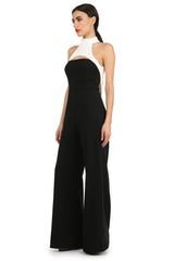 Jay Godfrey Black and White High-Neck Jumpsuit - Side View