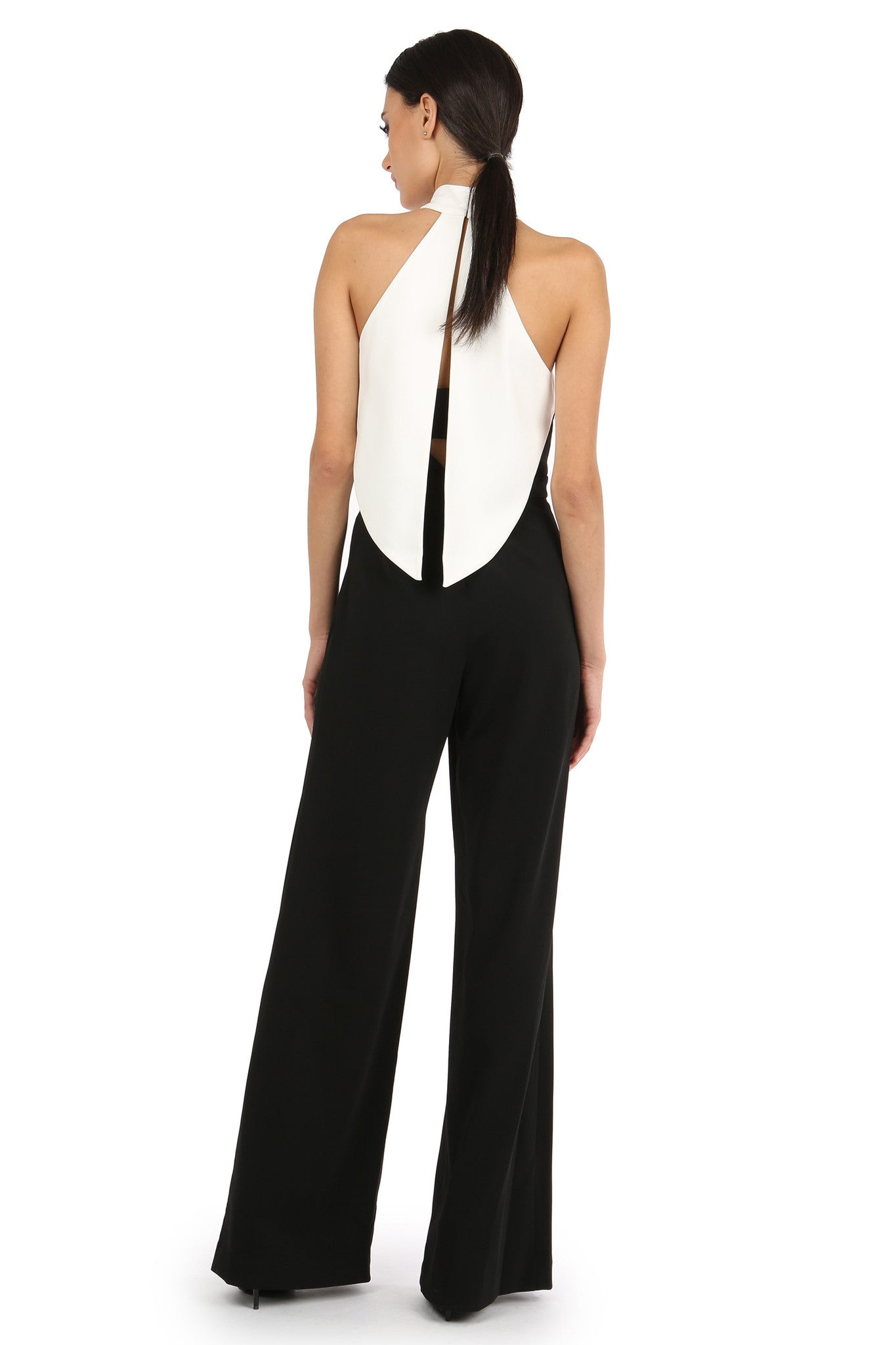 Jay Godfrey Black and White High-Neck Jumpsuit - Back View