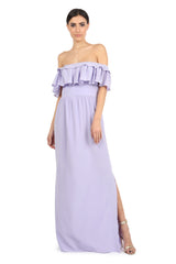 Jay Godfrey Purple Off-the-Shoulder Maxi Dress - Front View