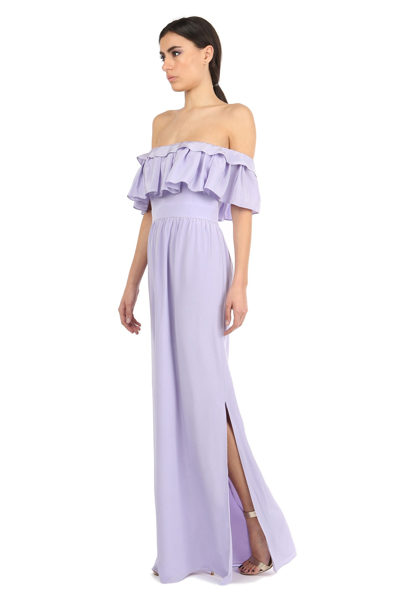 Jay Godfrey Purple Off-the-Shoulder Maxi Dress - Side View