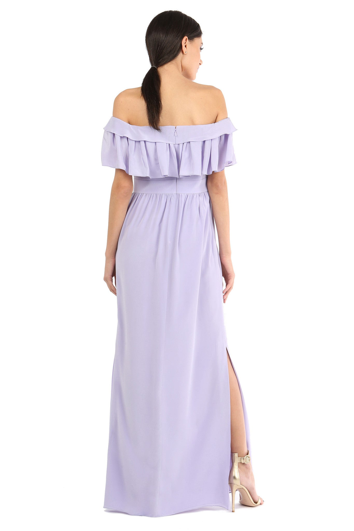 Jay Godfrey Purple Off-the-Shoulder Maxi Dress - Back View