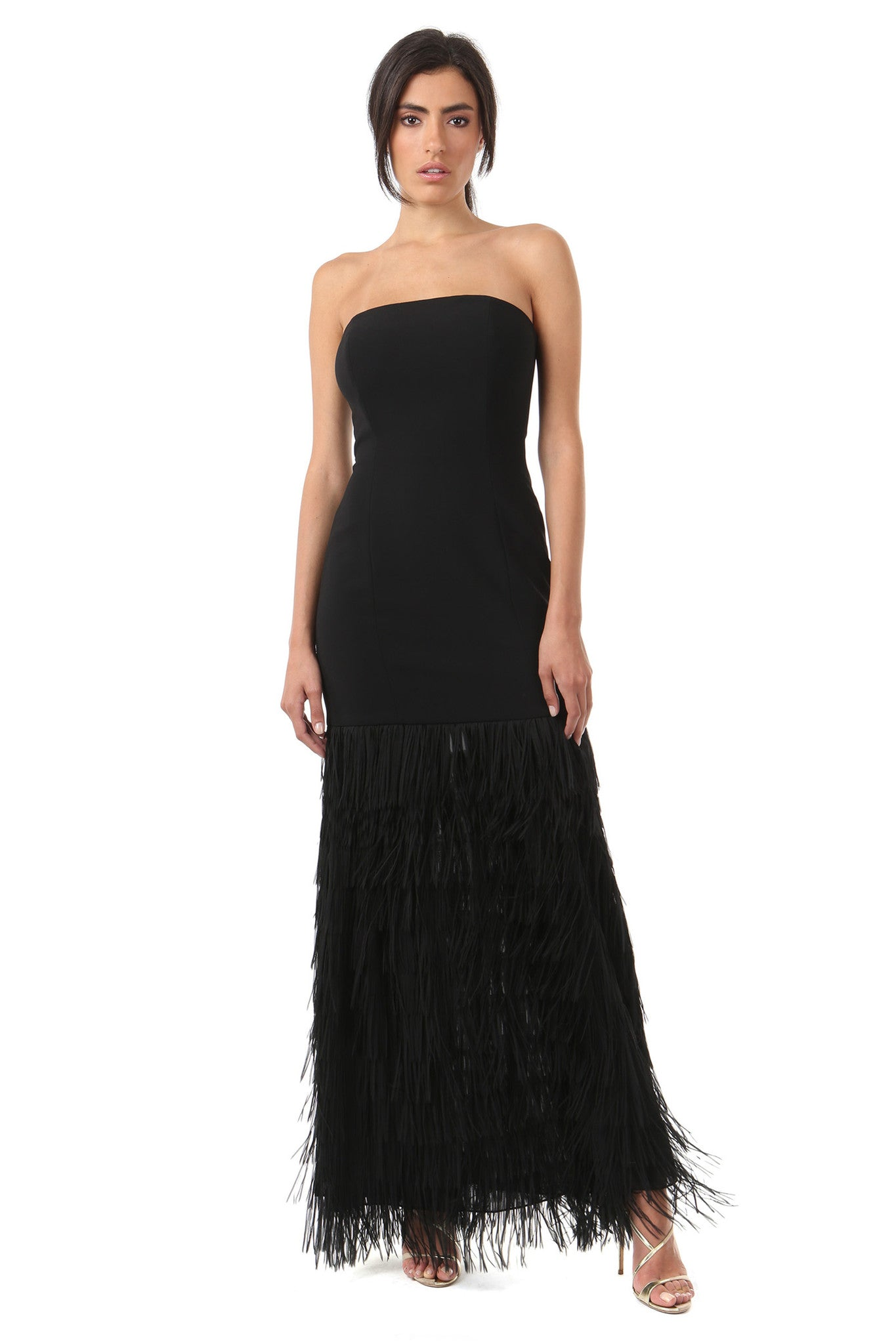 Jay Godfrey Black Fringe Strapless Gown - Front View