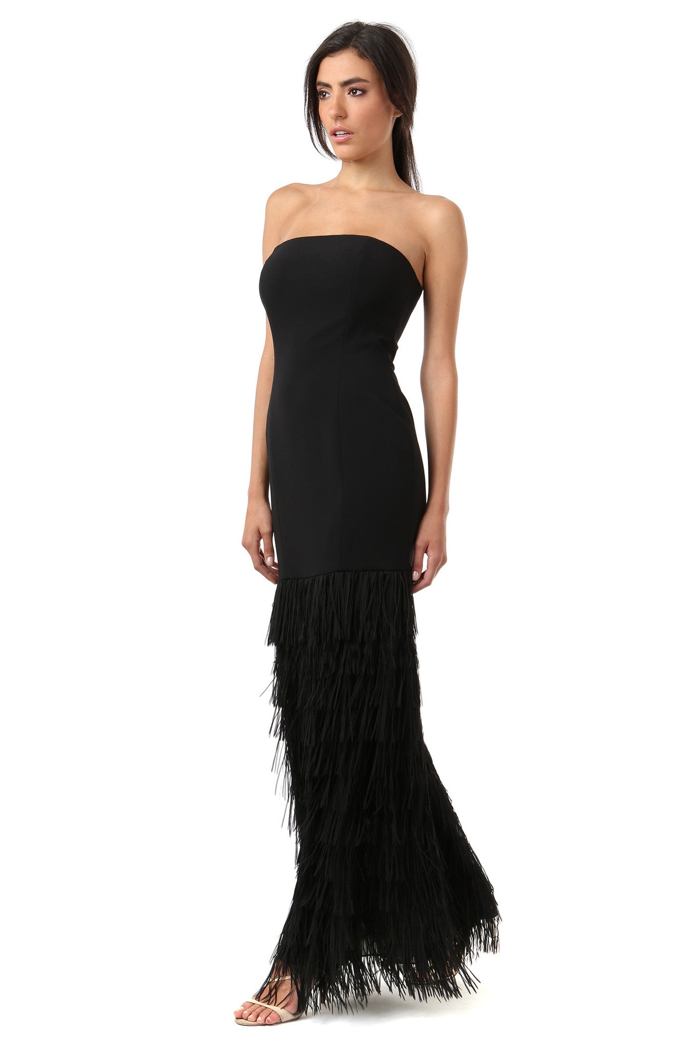 Jay Godfrey Black Fringe Strapless Gown - Side View