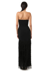 Jay Godfrey Black Fringe Strapless Gown - Back View