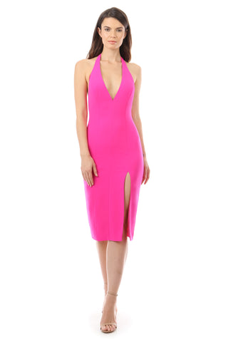 Tannen Midi Dress Neon Fuchsia Jay Godfrey