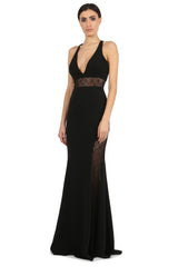 Jay Godfrey Black V-Neck Lace Panel Gown - Front View