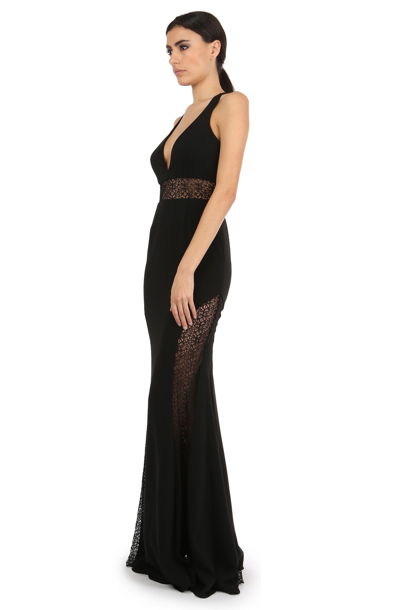 Jay Godfrey Black V-Neck Lace Panel Gown - Side View