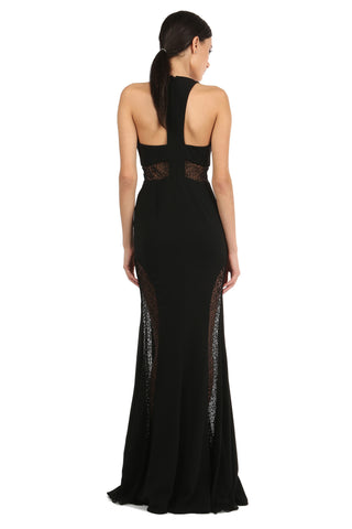 TENOR DEEP V-NECK LACE PANEL GOWN