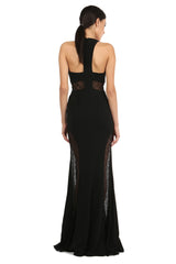 Jay Godfrey Black V-Neck Lace Panel Gown - Back View