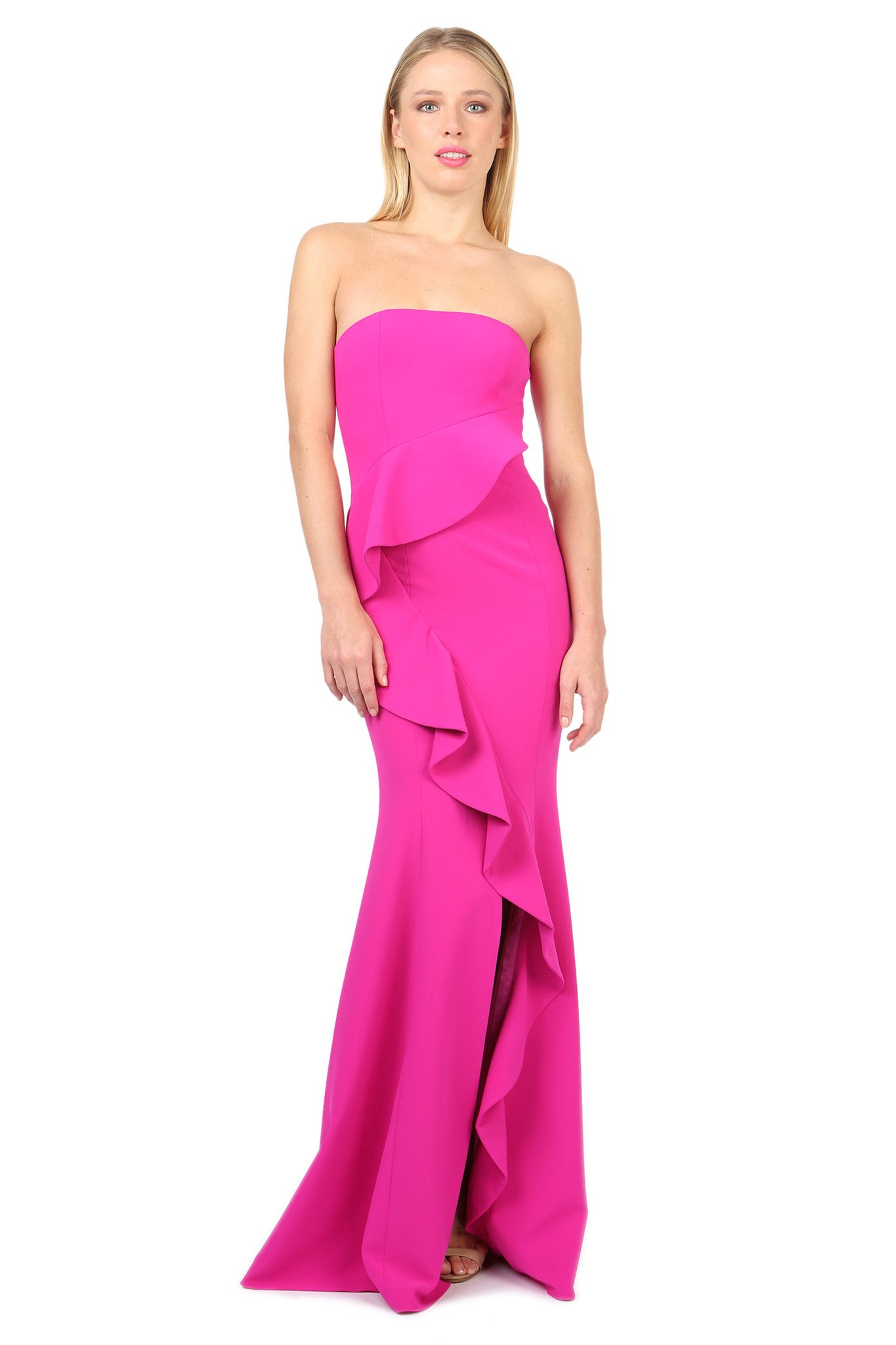 Jay Godfrey Fuchsia Strapless Ruffle Gown - Front View