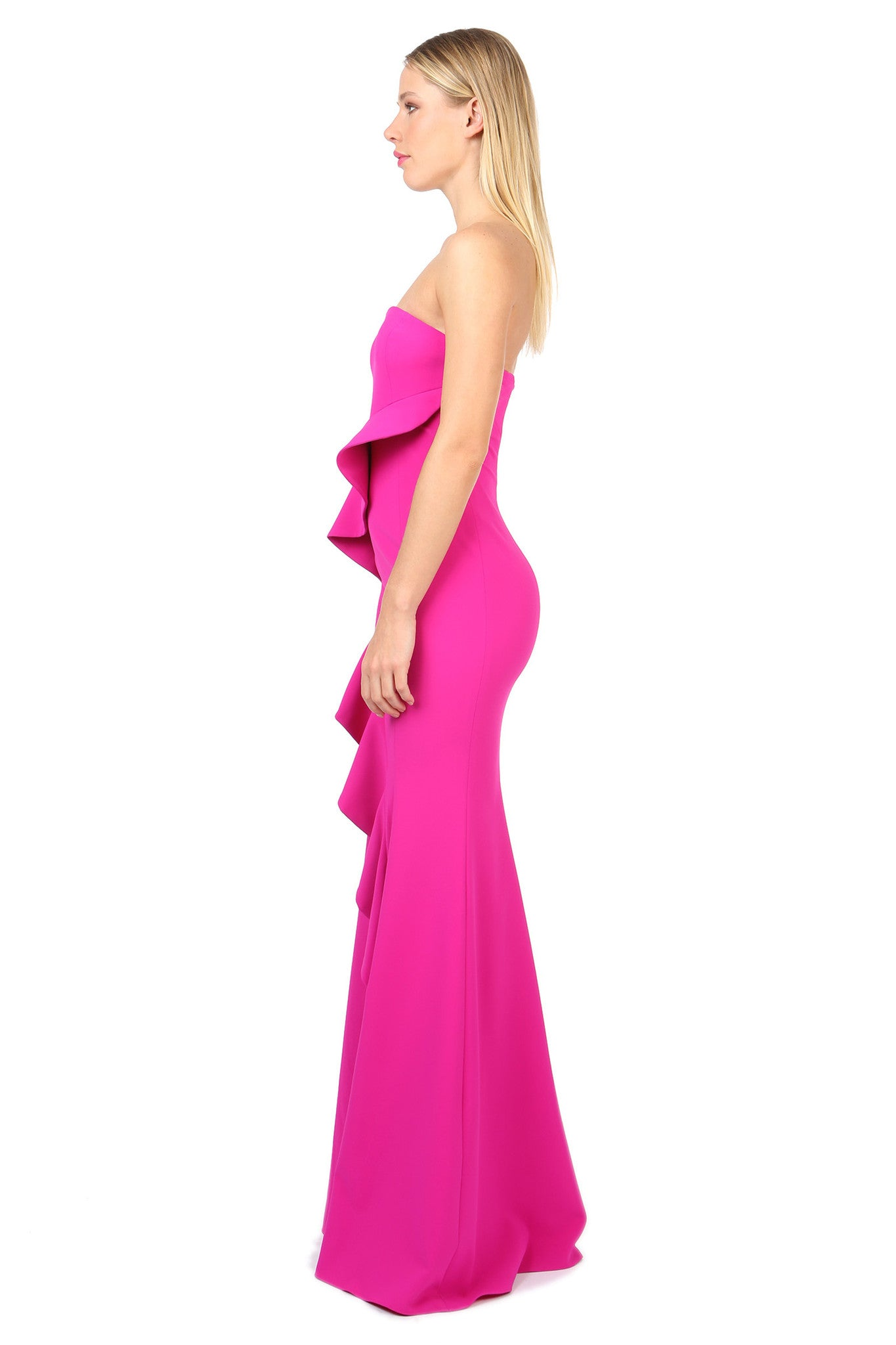 Jay Godfrey Fuchsia Strapless Ruffle Gown - Side View