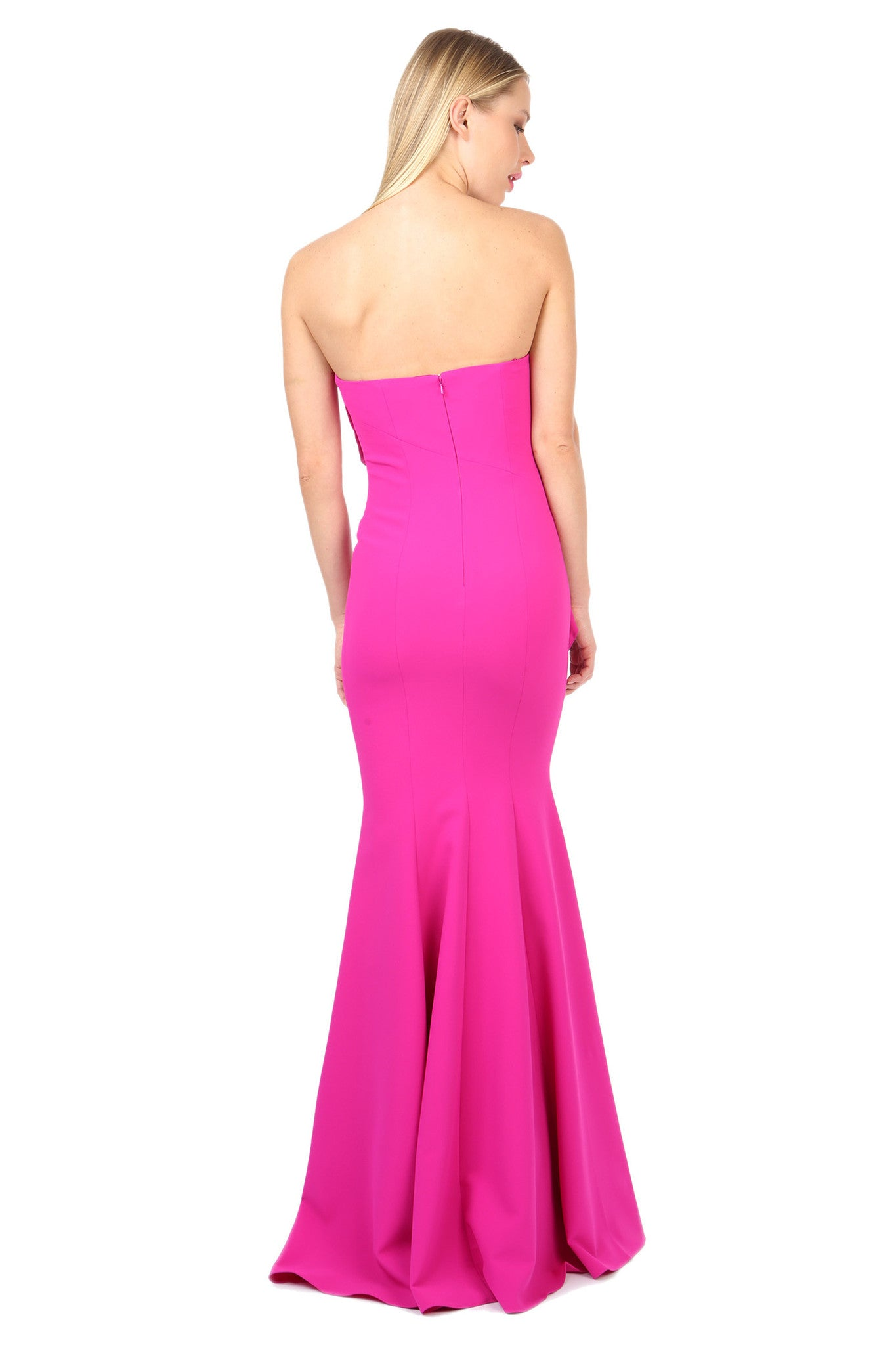 Jay Godfrey Fuchsia Strapless Ruffle Gown - Back View
