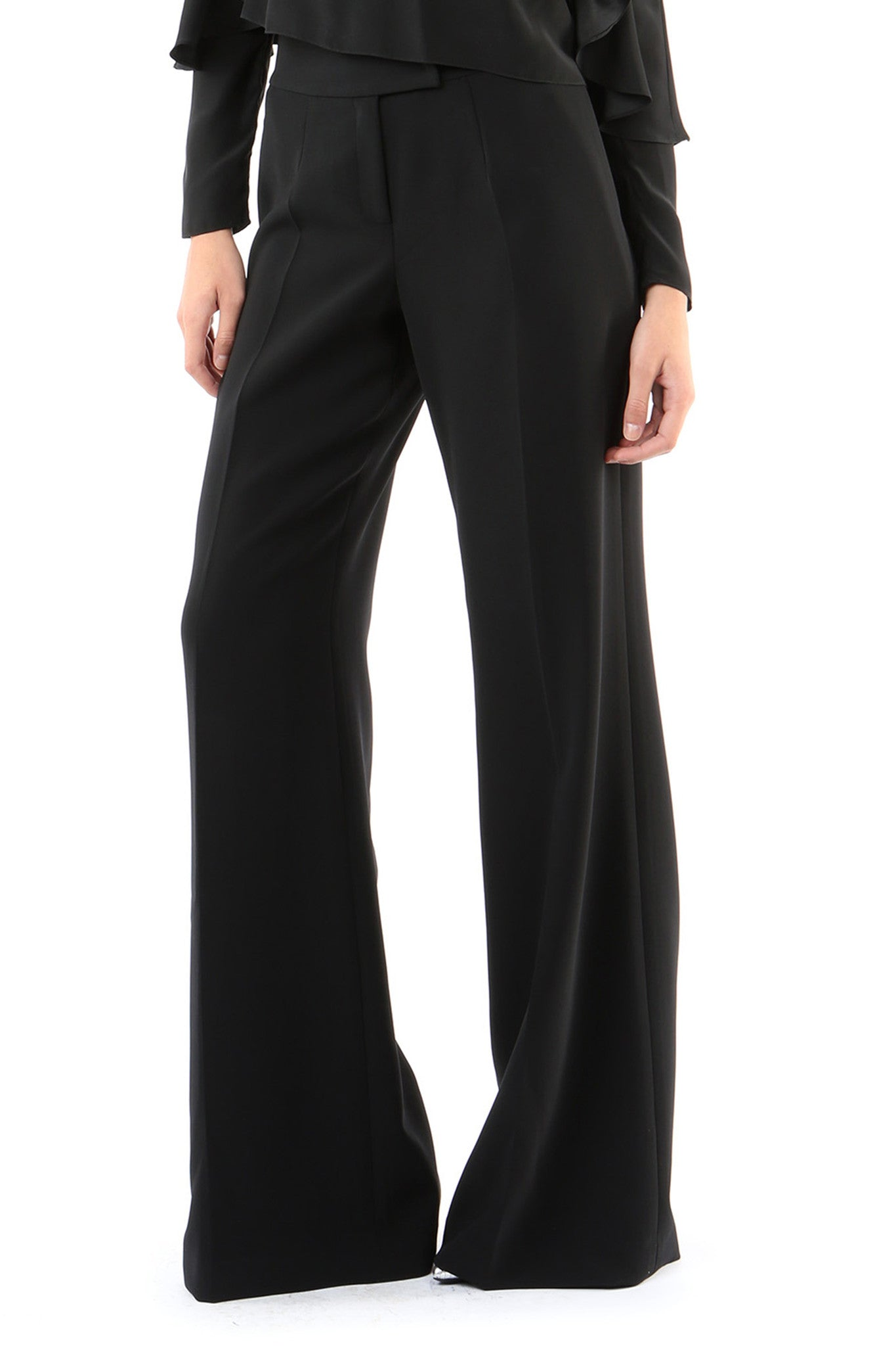Jay Godfrey Black High-Waister Trousers - Front View
