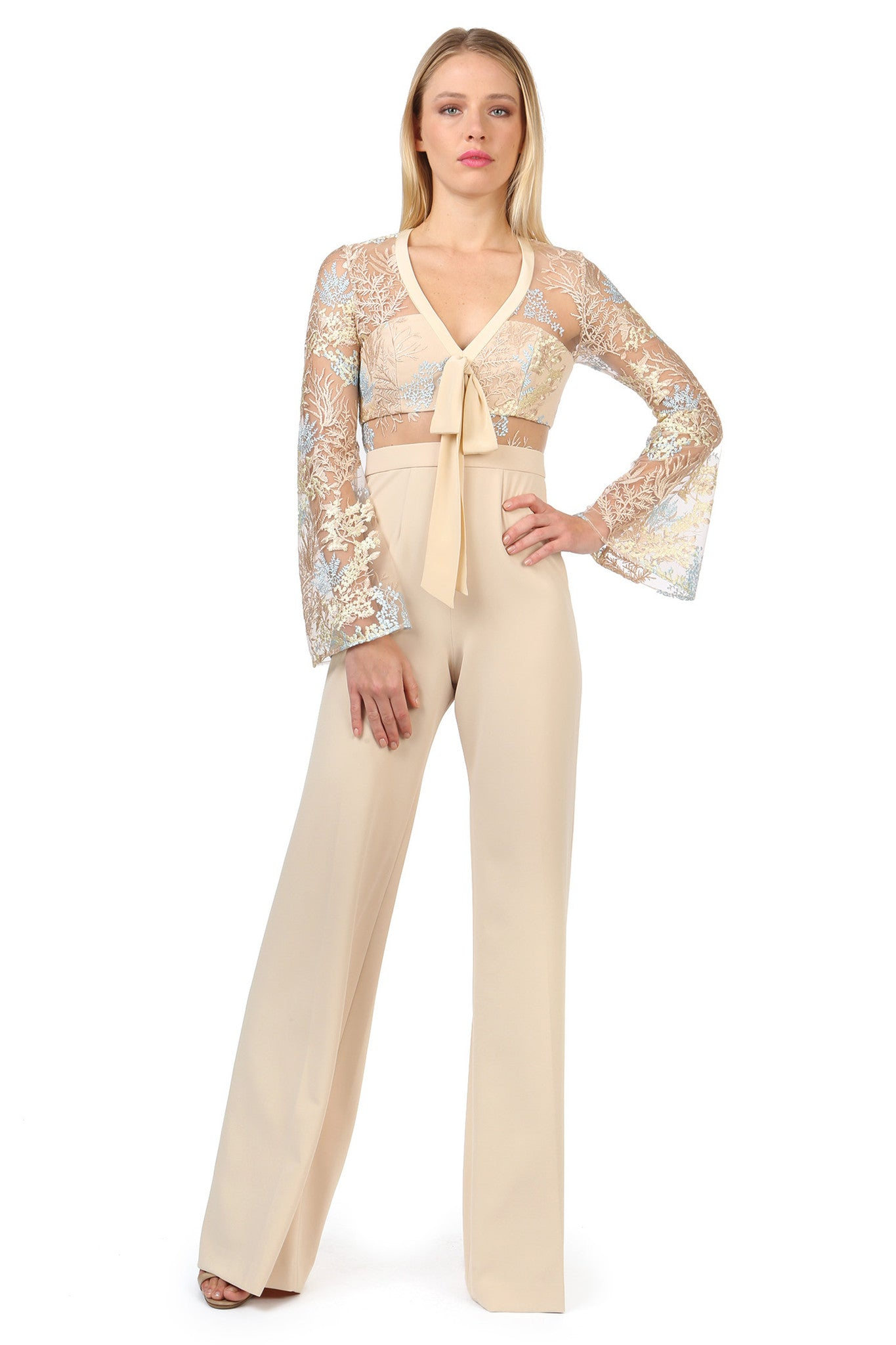 Jay Godfrey Sand Lace Jumpsuit - Front View