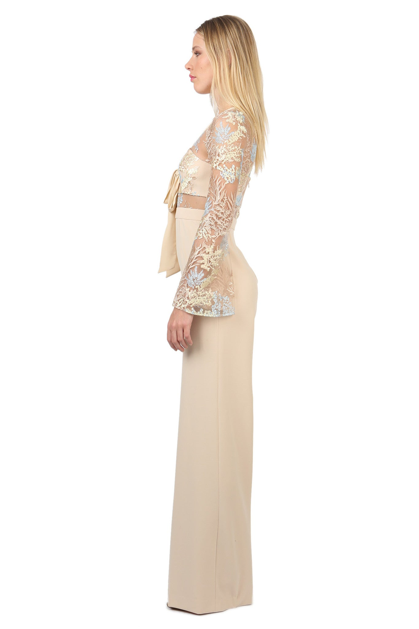 Jay Godfrey Sand Lace Jumpsuit - Side View