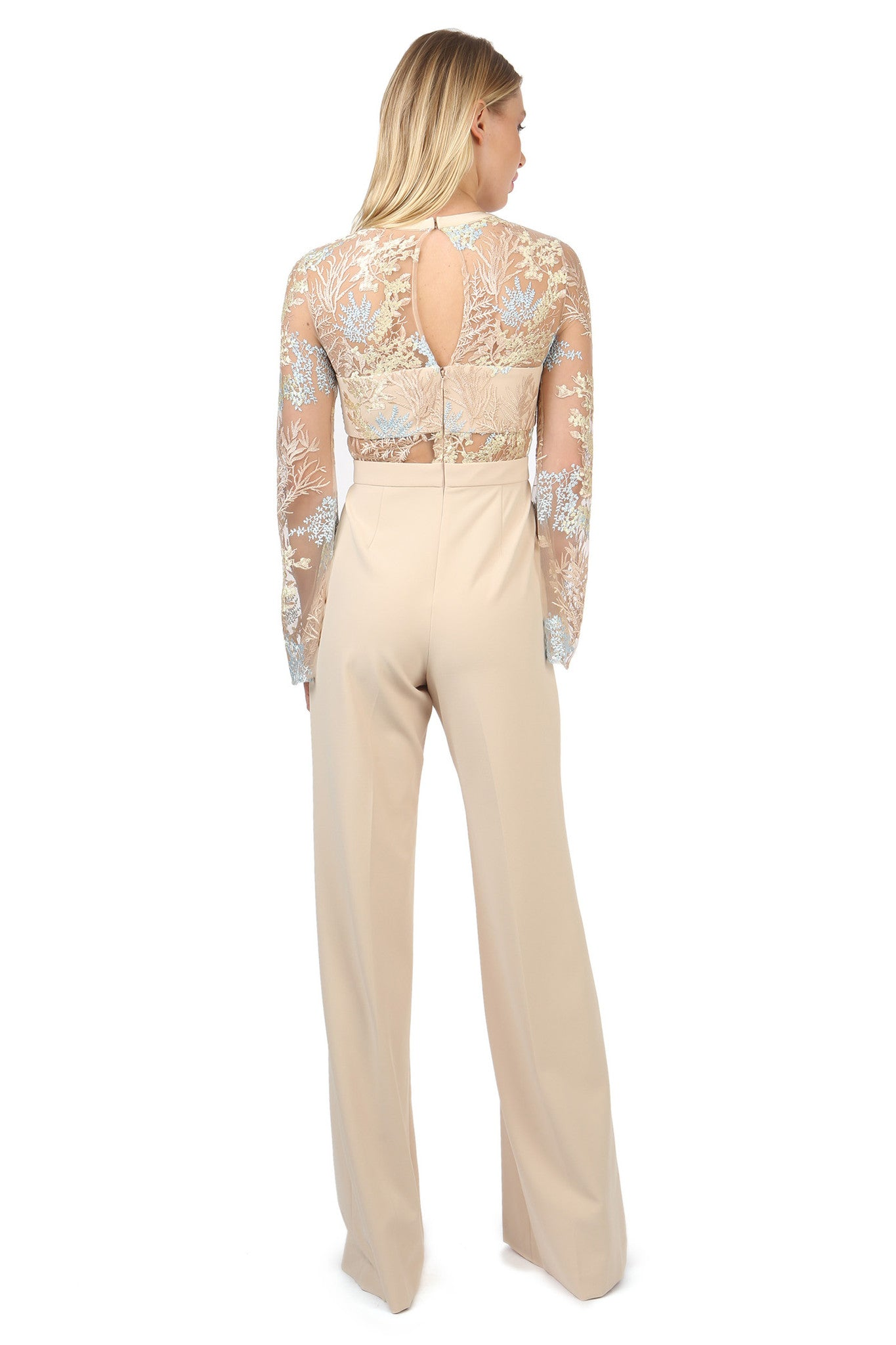 Jay Godfrey Sand Lace Jumpsuit - Back View