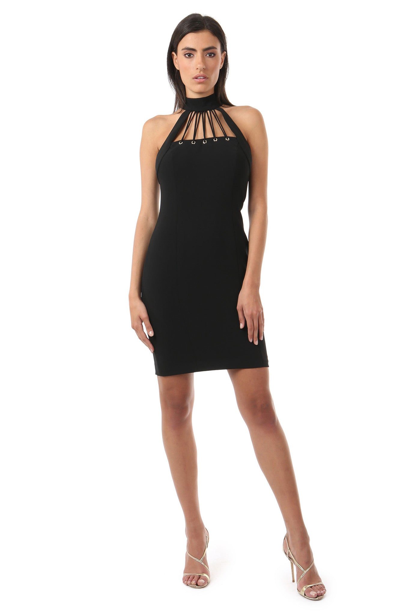 Jay Godfrey Black High-Neck Fitted Dress - Front View