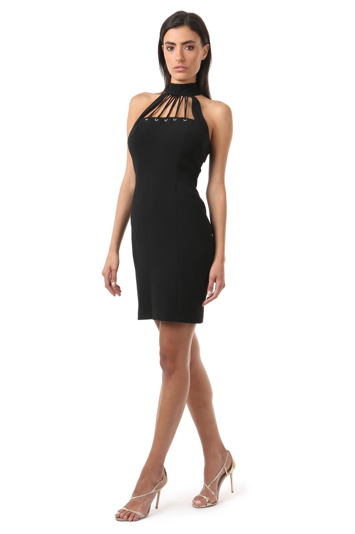 Jay Godfrey Black High-Neck Fitted Dress - Side View