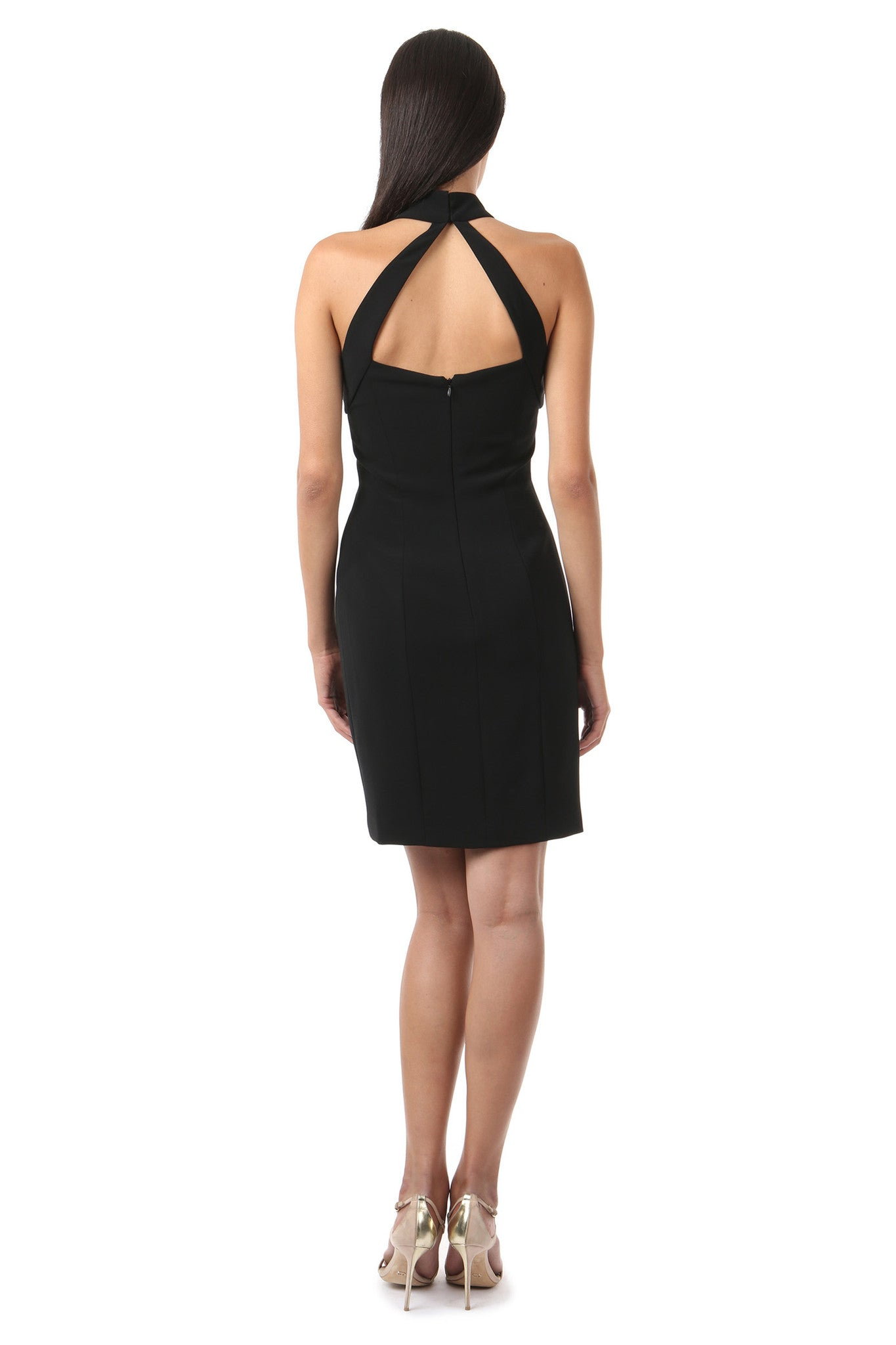 Jay Godfrey Black High-Neck Fitted Dress - Back View