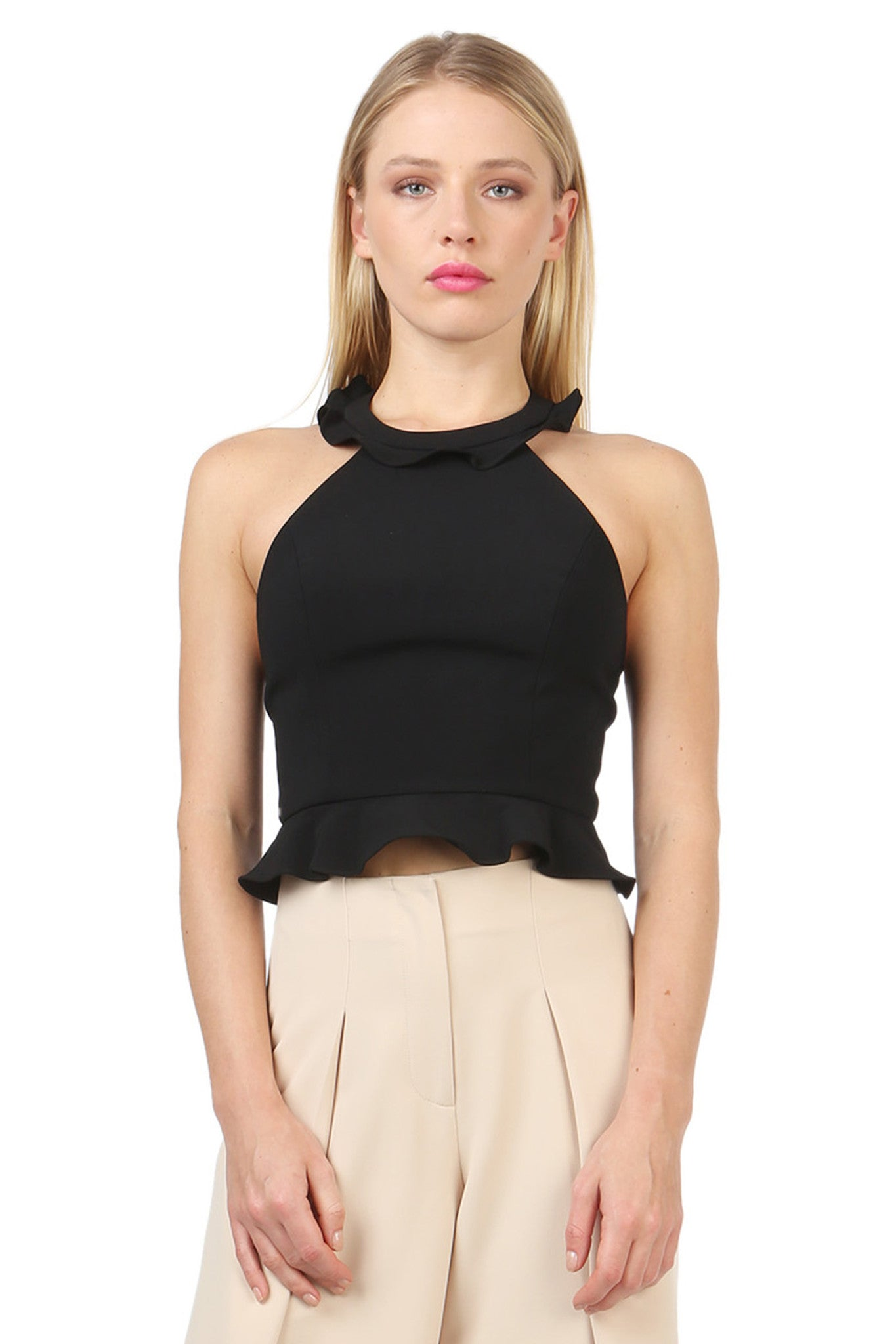 Jay Godfrey Black Ruffle Halter Top - Front View