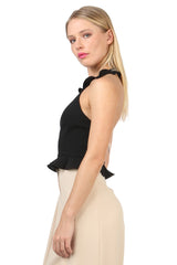 Jay Godfrey Black Ruffle Halter Top - Side View
