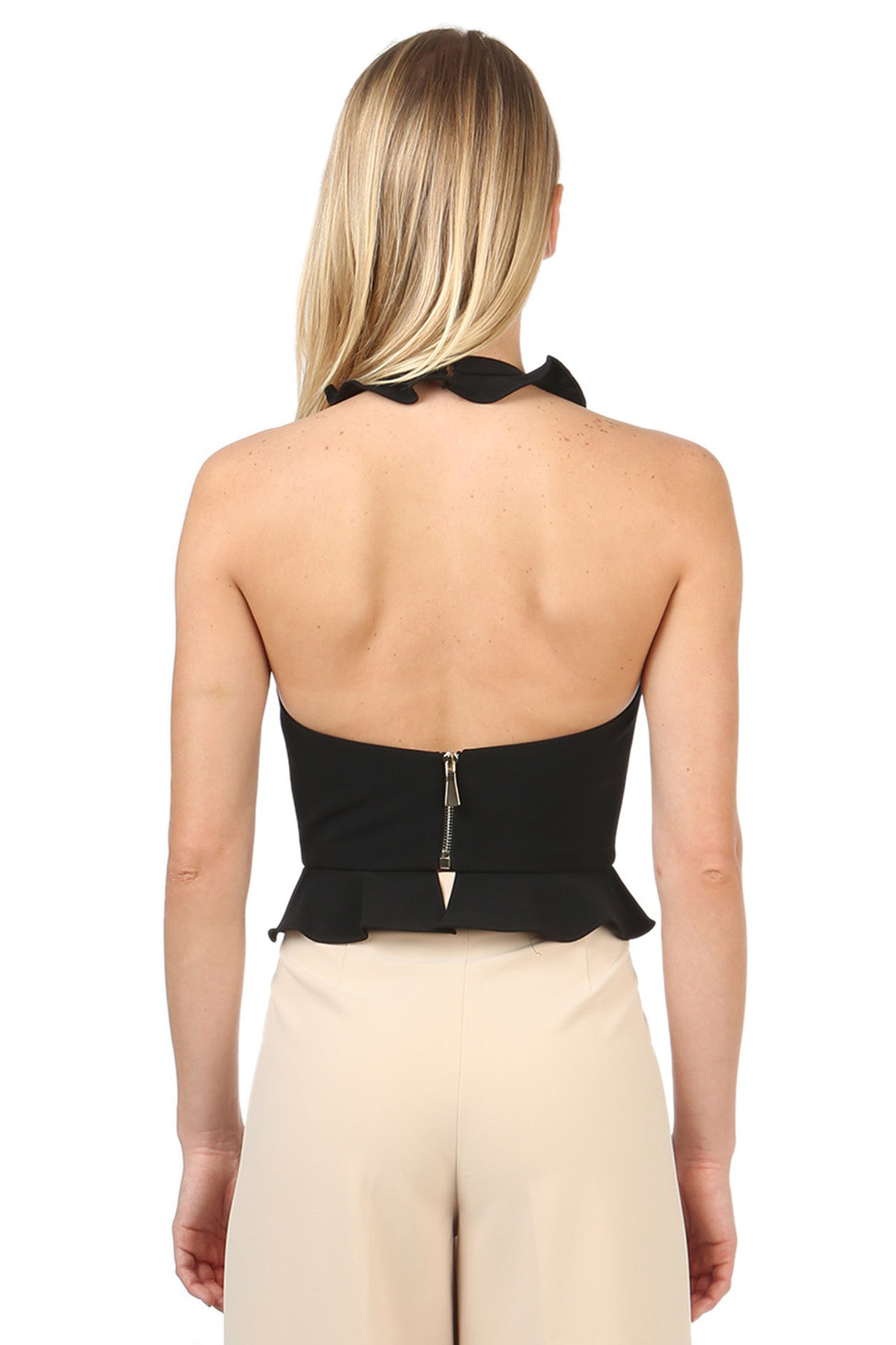 Jay Godfrey Black Ruffle Halter Top - Back View