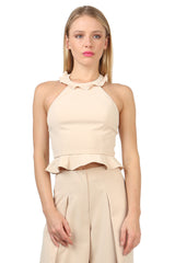 Jay Godfrey Sand Ruffle Halter Top - Front View