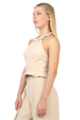 Jay Godfrey Sand Ruffle Halter Top - Side View