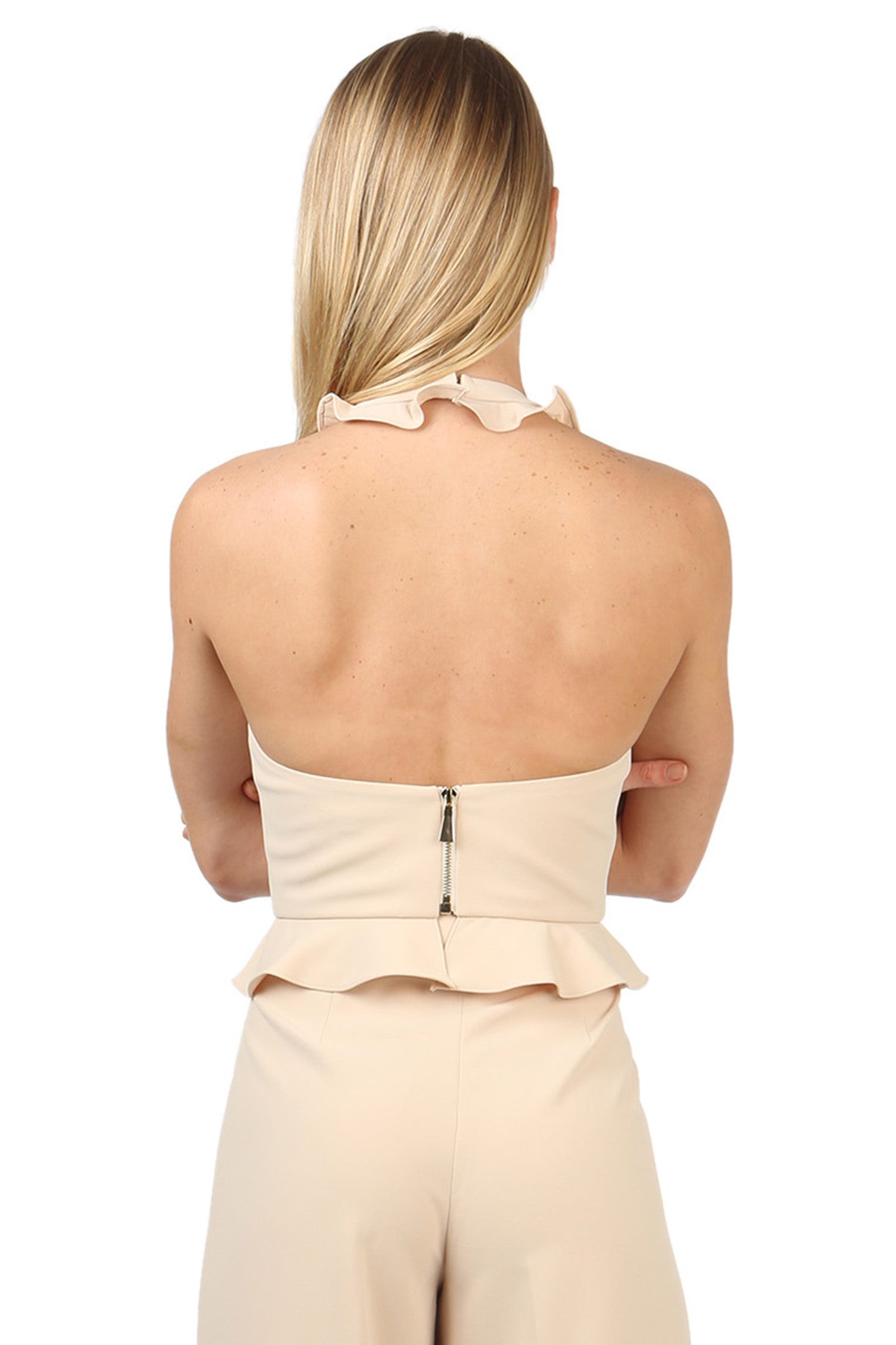 Jay Godfrey Sand Ruffle Halter Top - Back View